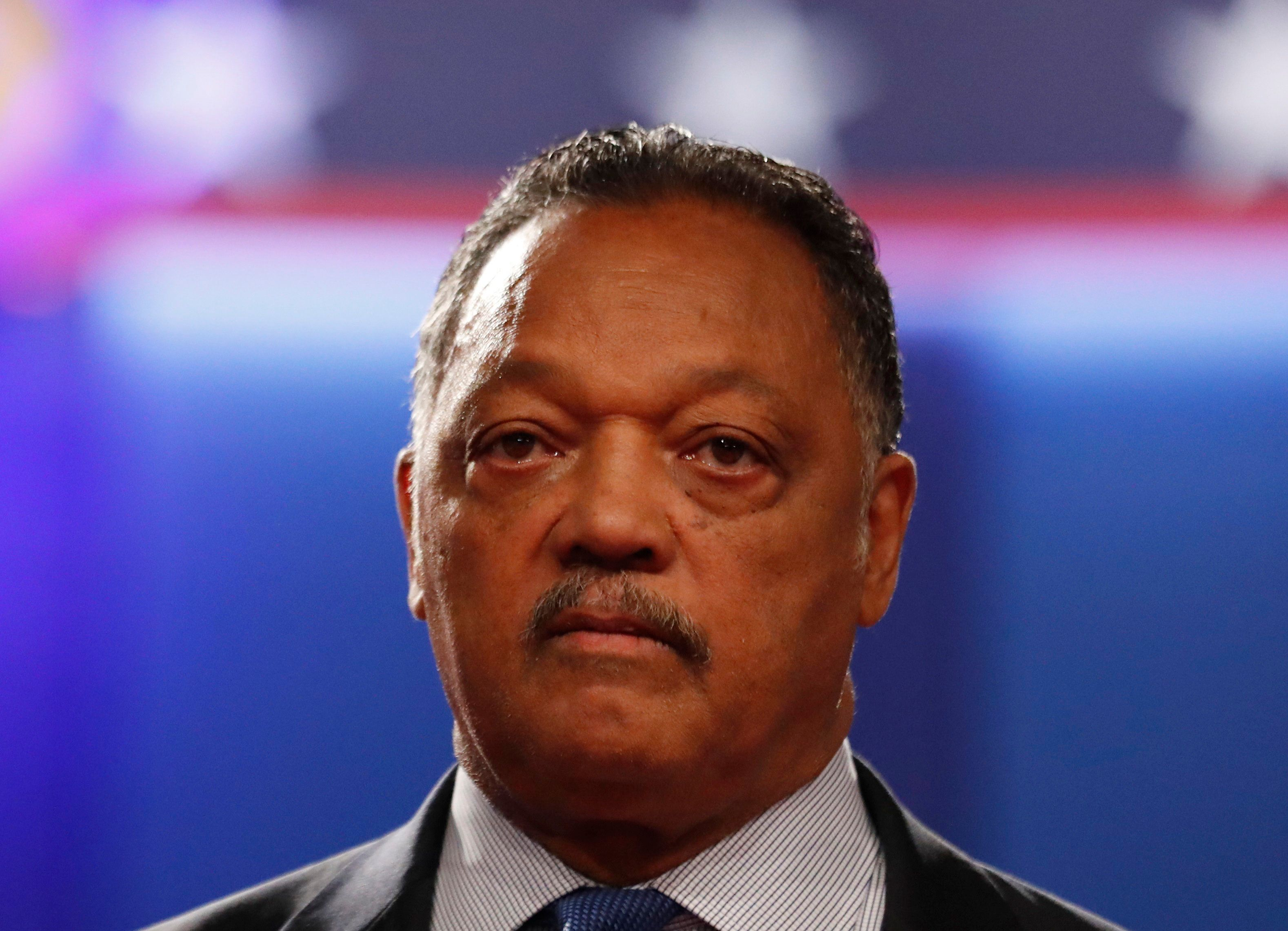 Jesse Jackson arrives to attend the  third and final 2016 presidential campaign debate between Republican U.S. presidential nominee Donald Trump and Democratic nominee Hillary Clinton at UNLV in Las Vegas, Nevada, U.S., October 19, 2016. REUTERS/Mike Blake
