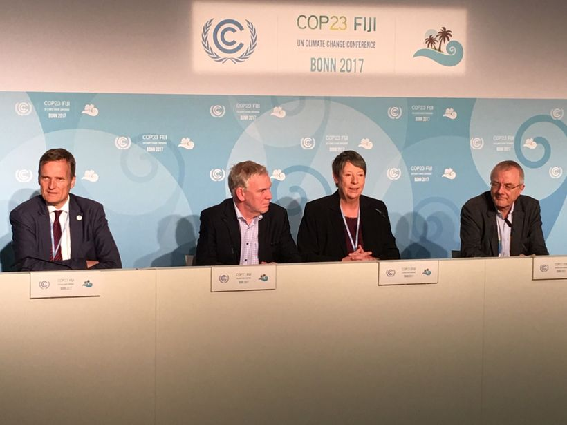 German press conference on final day of COP23 in Bonn.