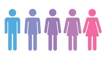 Transition process of transgender person from male to female. Gender fluid transsexual concept. Isolated vector illustration.