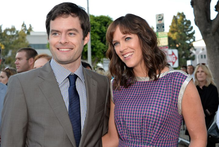Bill Hader and Maggie Carey attend a premiere in 2013.