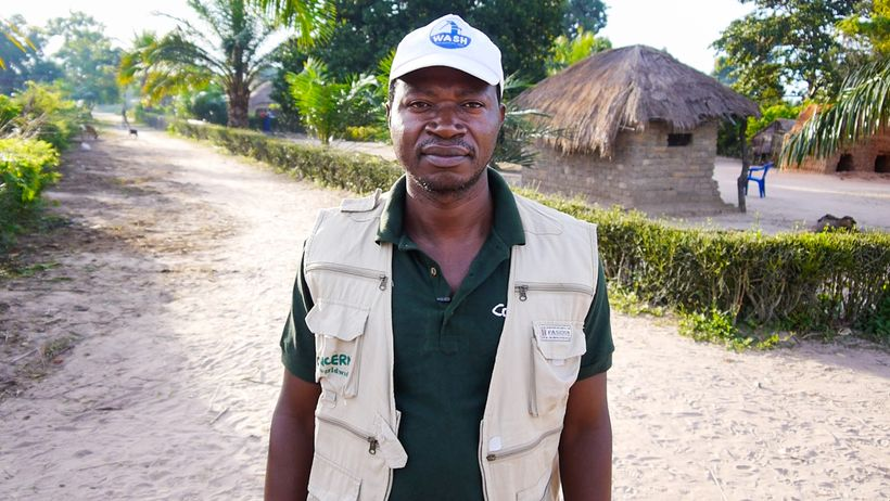 Felix Kabemba, Concern's project manager for the DRC WASH Consortium.