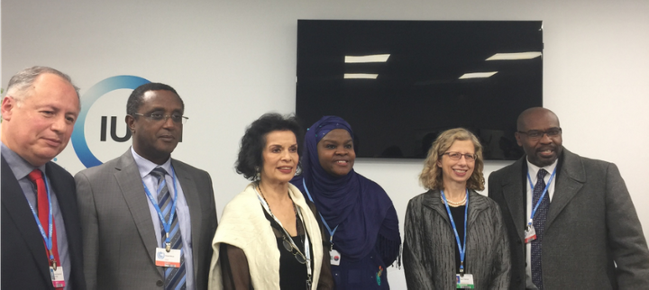 <p>Hon. Ricardo Hernández Sanchez, Undersecretary of Forest Development, Secretary of Environment and Natural History, Chiapas, Mexico,<strong> </strong>Hon. Vincent Biruta, Minister of Environment, Rwanda,<strong> </strong>Bianca Jagger, Mrs. Halima Bawa-Bwari, and IUCN Director General Inger Anderson at Pledge Announcement </p>