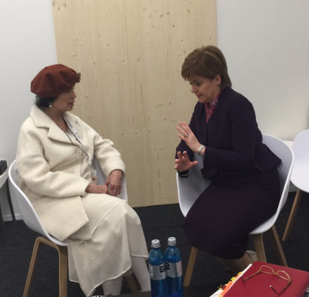 <p>Bianca Jagger and First Minister for Scotland, Nicola Sturgeon at COP 23</p>