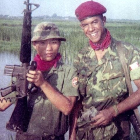 Smallwood with comrade Trung Uy Nguyen Van Dai in Gia Dinh Province, Mekong Delta, 1969.