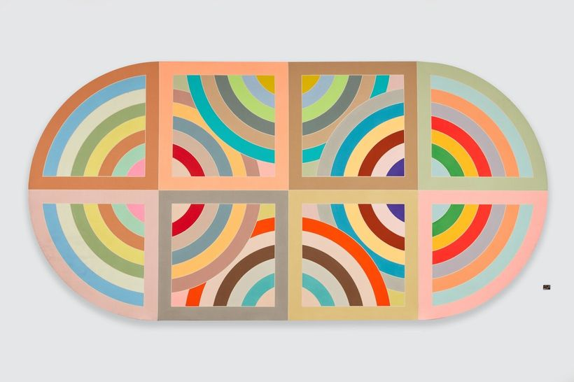 Frank Stella,  Hiraqla Variation II, 1968 Magna on canvas, 120 x 240 x 4 inches  Private Collection, NY © 2017 Frank Stella &