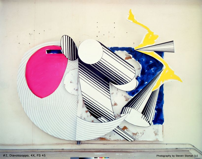Frank Stella, Diavolozoppo (#2, 4x), 1984 MM on canvas, etched Mg, AI & fiberglass Private Collection, NY © 2017 Frank St