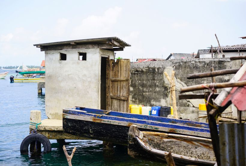 Modern toilets in Kuna Yala village in Panama, San Blas archipelago