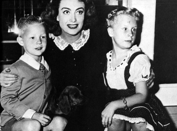 (From left to right): Christopher, Joan, and Christina Crawford