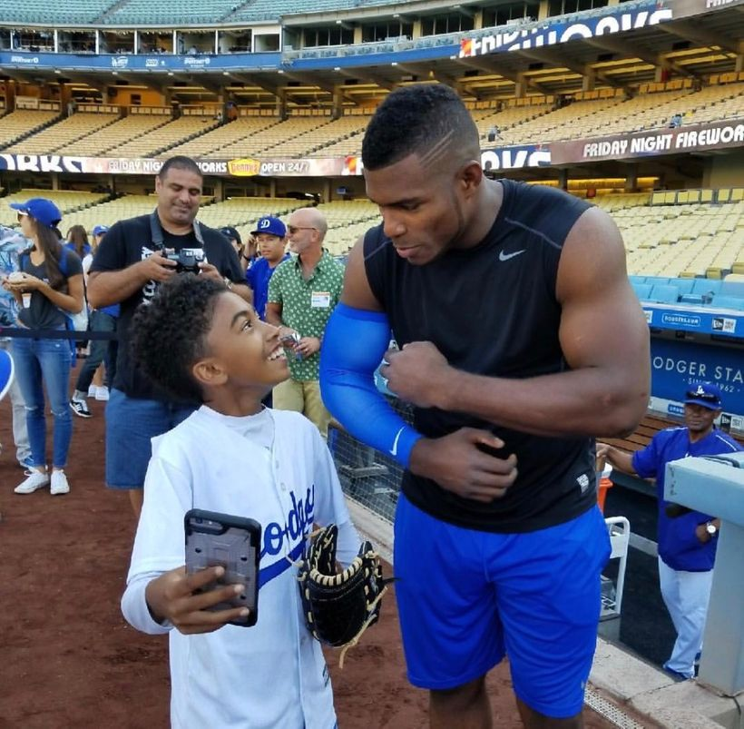 LA Dodger outfielder & Mixed Heritage Day supporter, Yasiel Puig with Black'ish star, Miles Brown