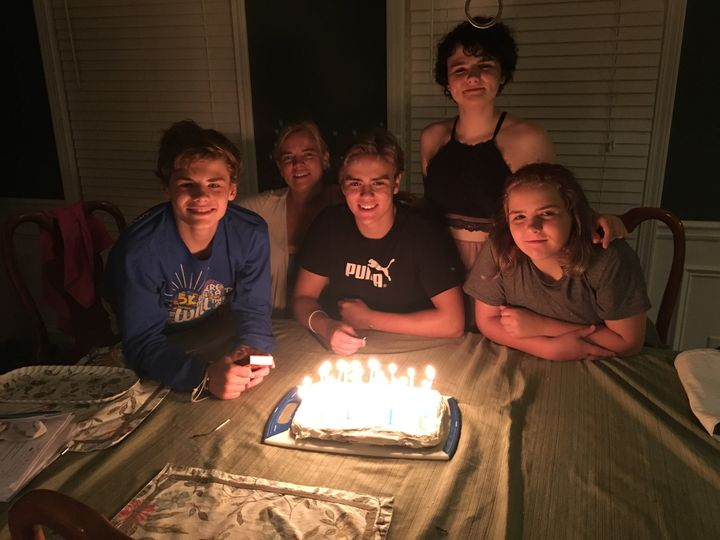 <i>From left to right:</i> Kevin, mom Carolyn, Michael, Cat and Elizabeth. Their oldest sister wasaway at college