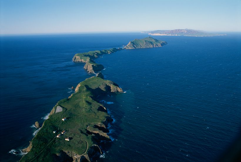 Channel Island National Park, California. An aerial view of East Anacapa Island in the Channel Islands. Santa Cruz Island is
