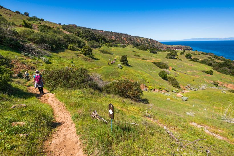 Hikers on Pelican Bay trail, Santa Cruz Island, Channel Islands National Park, California, USA