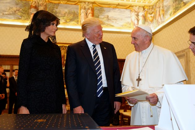 Pope Francis exchanges gifts with President Donald Trump and first lady Melania Trump at the Vatican...