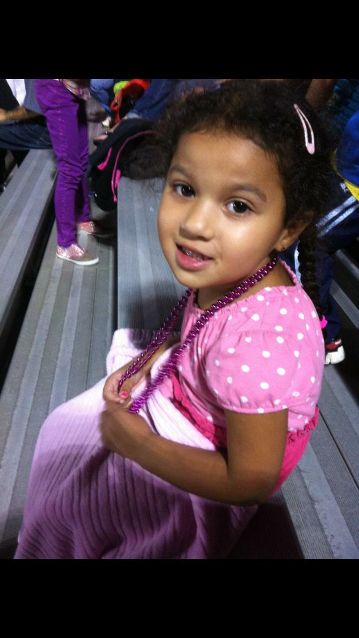 Jada all dressed in pink at a school event!
