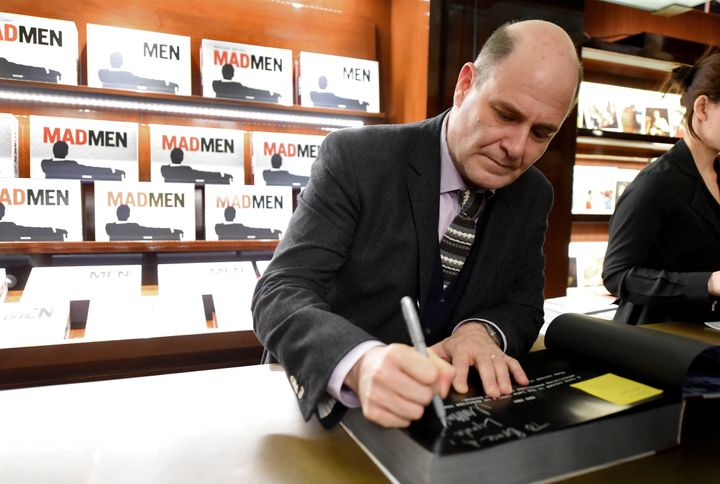 """""""Mad Men"""" creator and writer Matthew Weiner signs his book about the show in Beverly Hills on Feb. 23."""