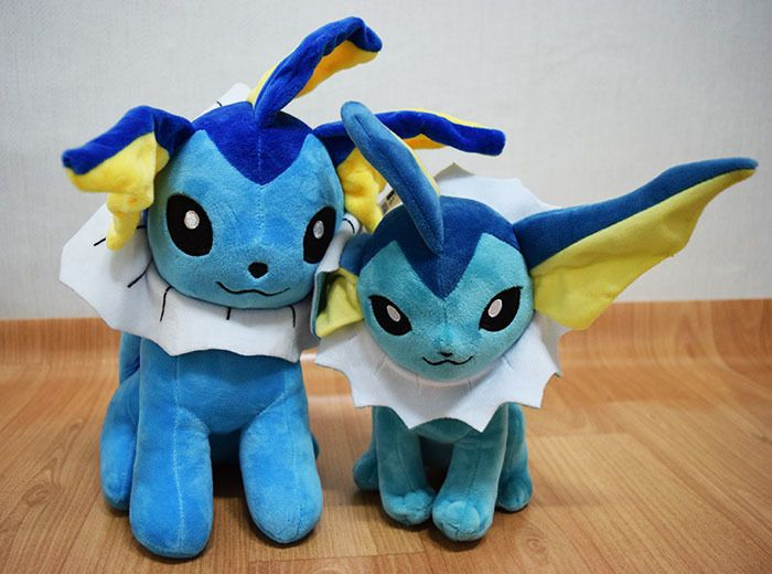 <strong>The Vaporeon on the left is a knock-off. The doll the right is officially licensed by Third Round, a subsidiary of  <