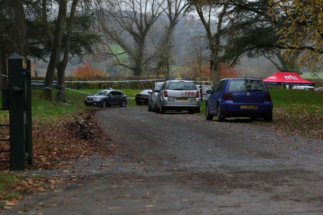 The entrance to Waddesdon Manor Road, in Buckinghamshire, as police resume the hunt for clues following...