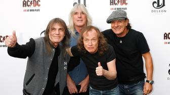 Malcolm Young, Cliff Williams, Angus Young, Brian Johnson of ACDC promote their new DVD Live at River Plate at the HMV Hammersmith Apollo in London.