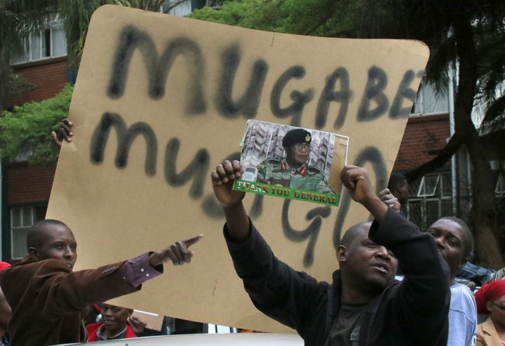 Protesters calling for Robert Mugabe to step down take to the streets of Harare, Zimbabwe on November 18, 2017.