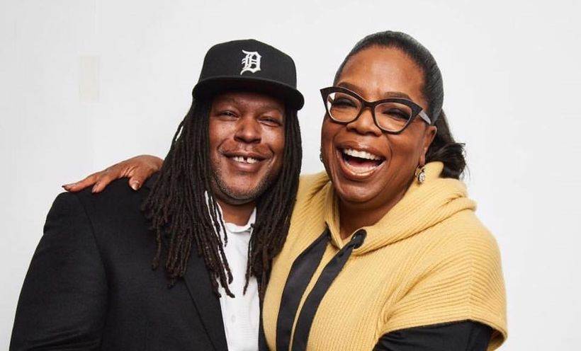 Oprah embraces her friend and new consulting producer BMe Genius Shaka Senghor
