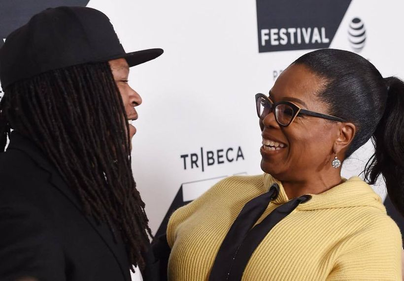 Oprah and Shaka share a moment on the red carpet at 2017 Tribeca Film Festival