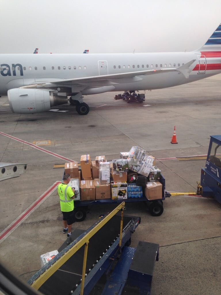 Supplies being boarded on a flight to San Juan, Puerto Rico