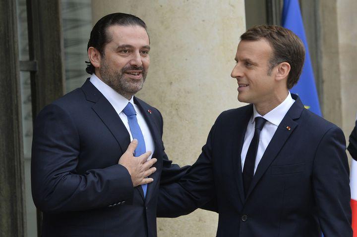 French President Emmanuel Macron welcomes former Lebanese Prime Minister Saad al-Hariri at Elysee Palace in Paris, France on