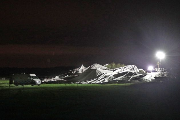 The remains of the Airlander 10, the world's largest aircraft, lies on the ground at Cardington airfield...