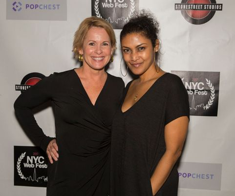 Actress Anne Howard (L) and NYC Web Fest Founder Lauren Atkins(R) pose on the red carpet at this years NYC Web Fest award cer