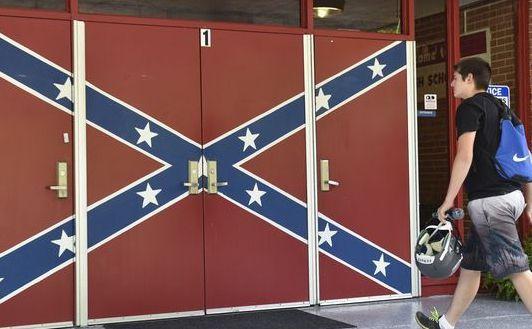 The front door of Hurley High School in Hurley, Virginia circa 2015