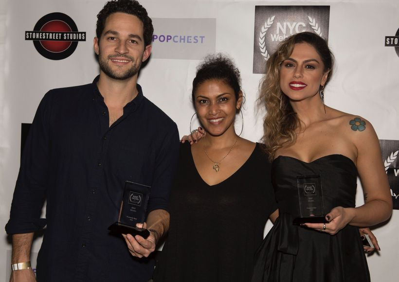 Fernando Belo (L) creator of RED - Best Drama winner and lead actress Ana Paula Lima (R)