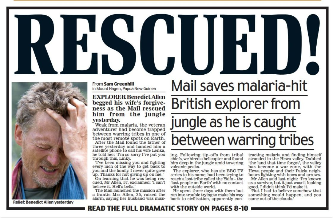Daily Mail's Sister Paper Contradicts Its Claim It 'Rescued' Papa New Guinea