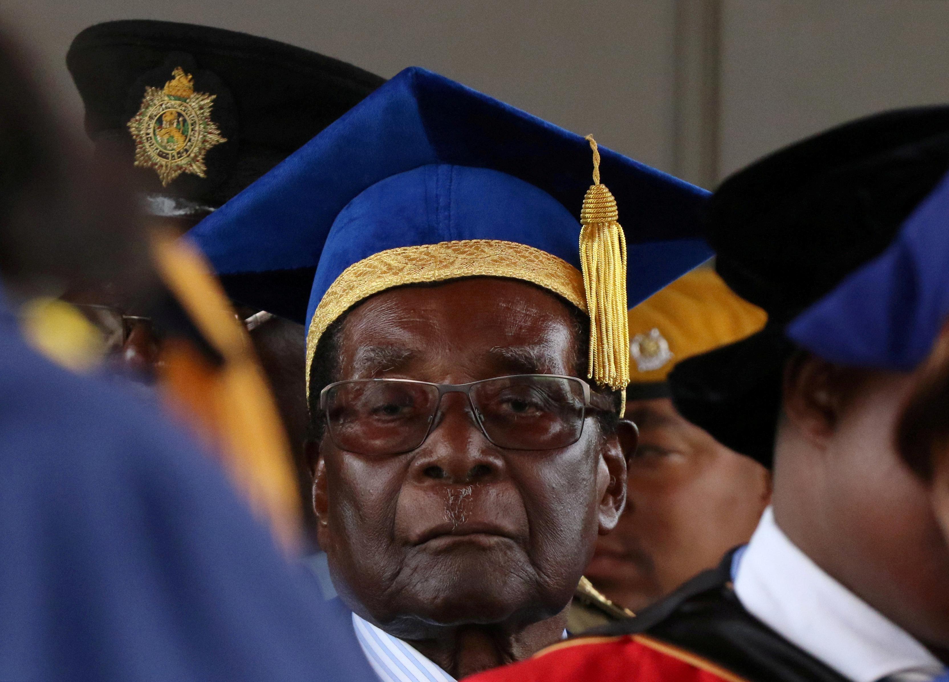Robert Mugabe at a university graduation ceremony on Friday