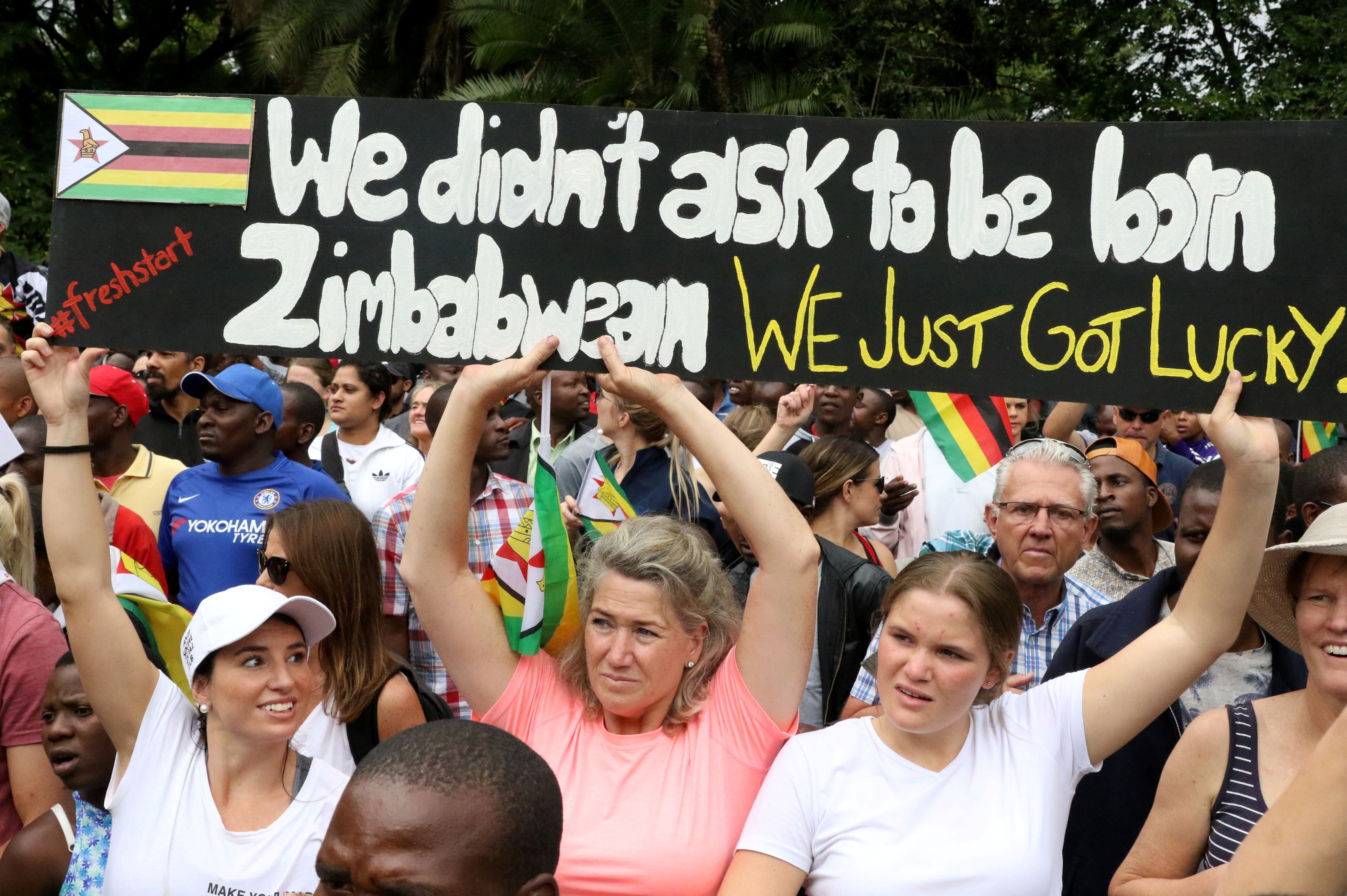 Protesters calling for Mugabe to step down take to the streets in Harare on Saturday