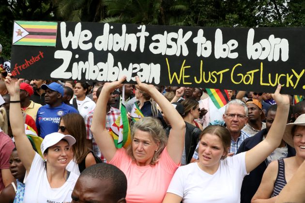 Protesters calling for Mugabe to step down take to the streets in Harare on