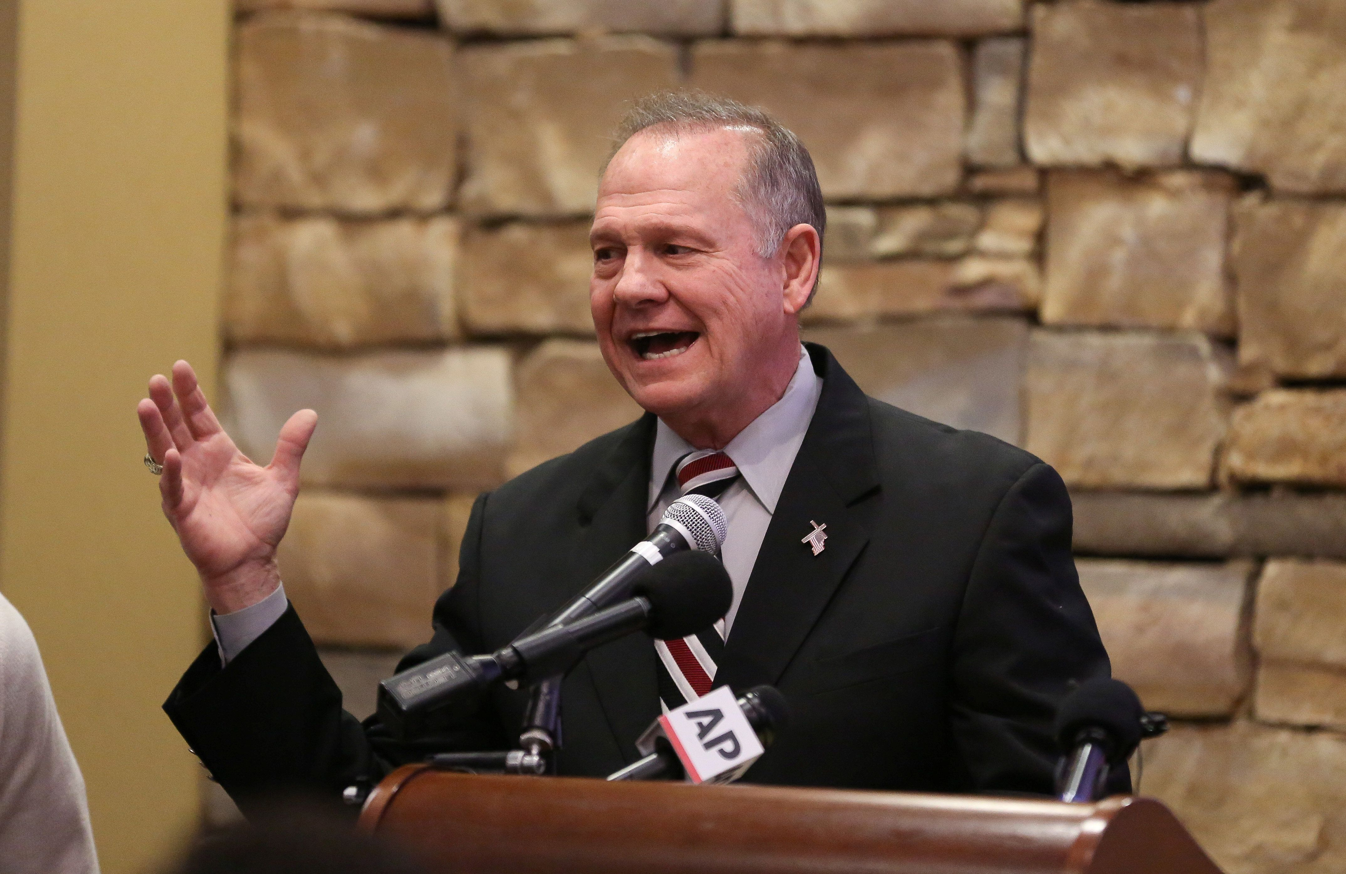 Judge Roy Moore speaks as he participates in the Mid-Alabama Republican Club's Veterans Day Program in Vestavia Hills, Alabama, U.S. November 11, 2017. REUTERS/Marvin Gentry