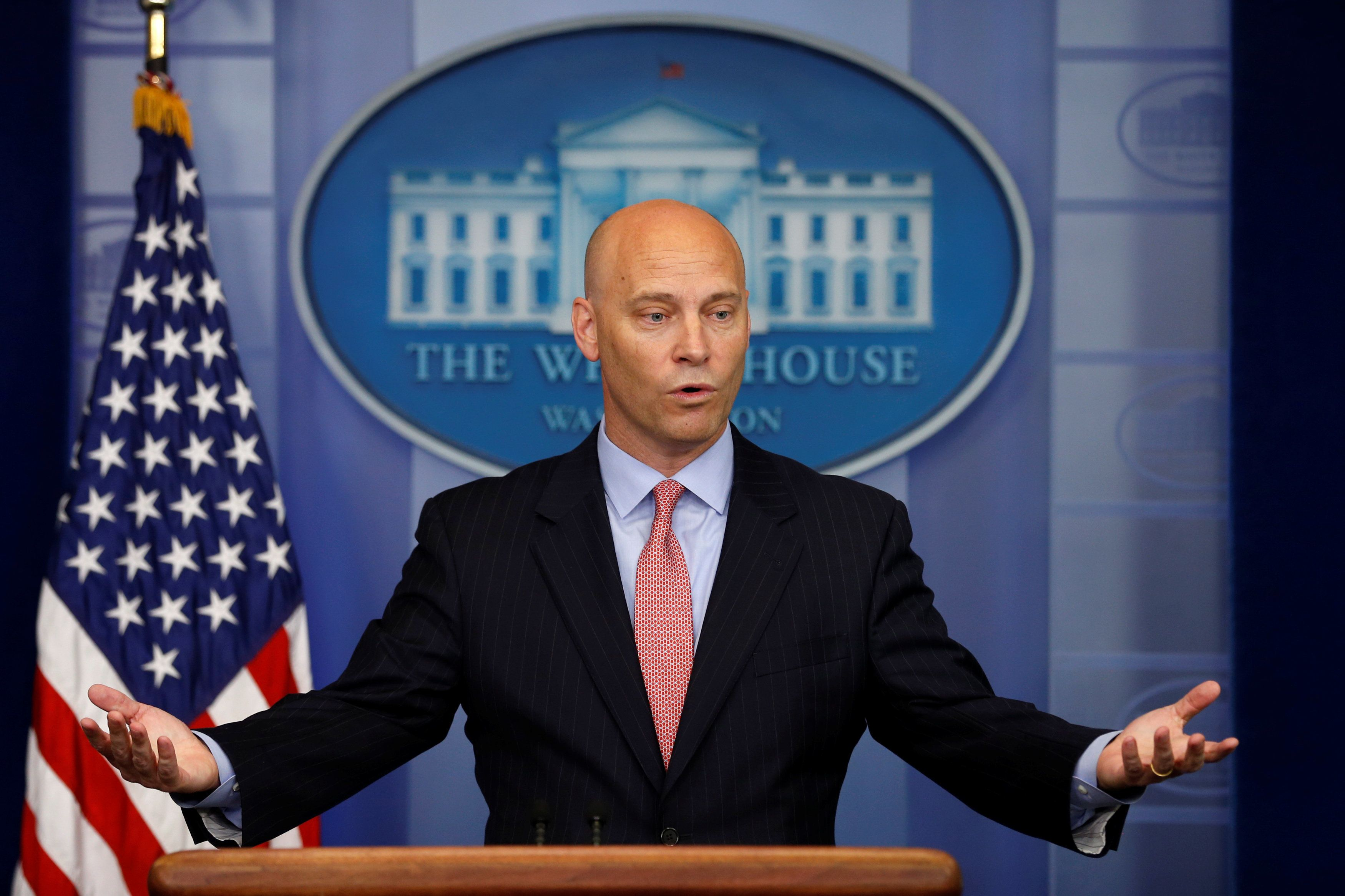 White House Legislative Affairs Director Marc Short addresses the daily press briefing at the White House in Washington, DC, U.S. July 10, 2017. REUTERS/Jonathan Ernst