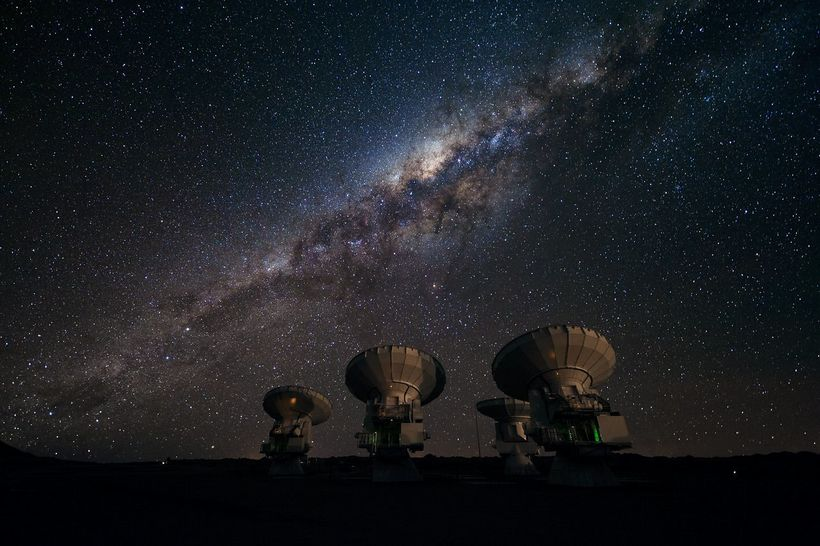 Four of the first ALMA antennas at the Array Operations Site (AOS), located on the Chajnantor plateau in Chile. ALMA, the Ata