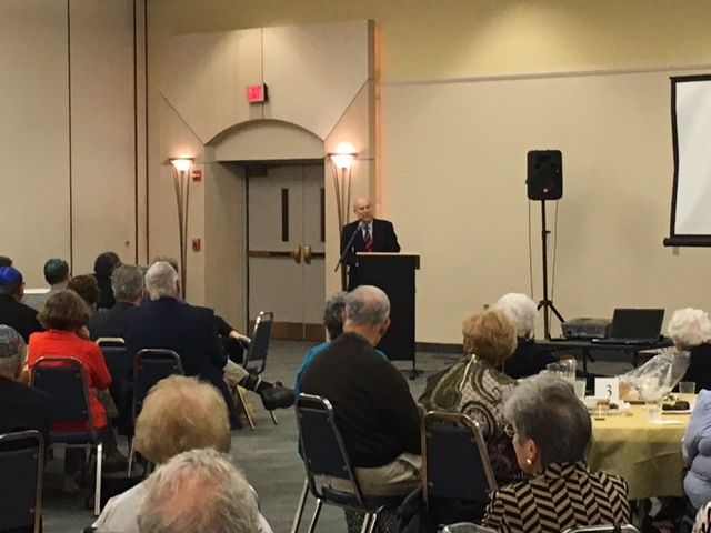 Ambassador Akbar Ahmed delivers a Shabbat dinner lecture at Temple Beth Ami in Rockville Md. on Friday, October 20, discussin