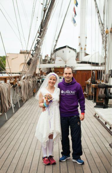 Jackie got married on the Cutty Sark before running London Marathon