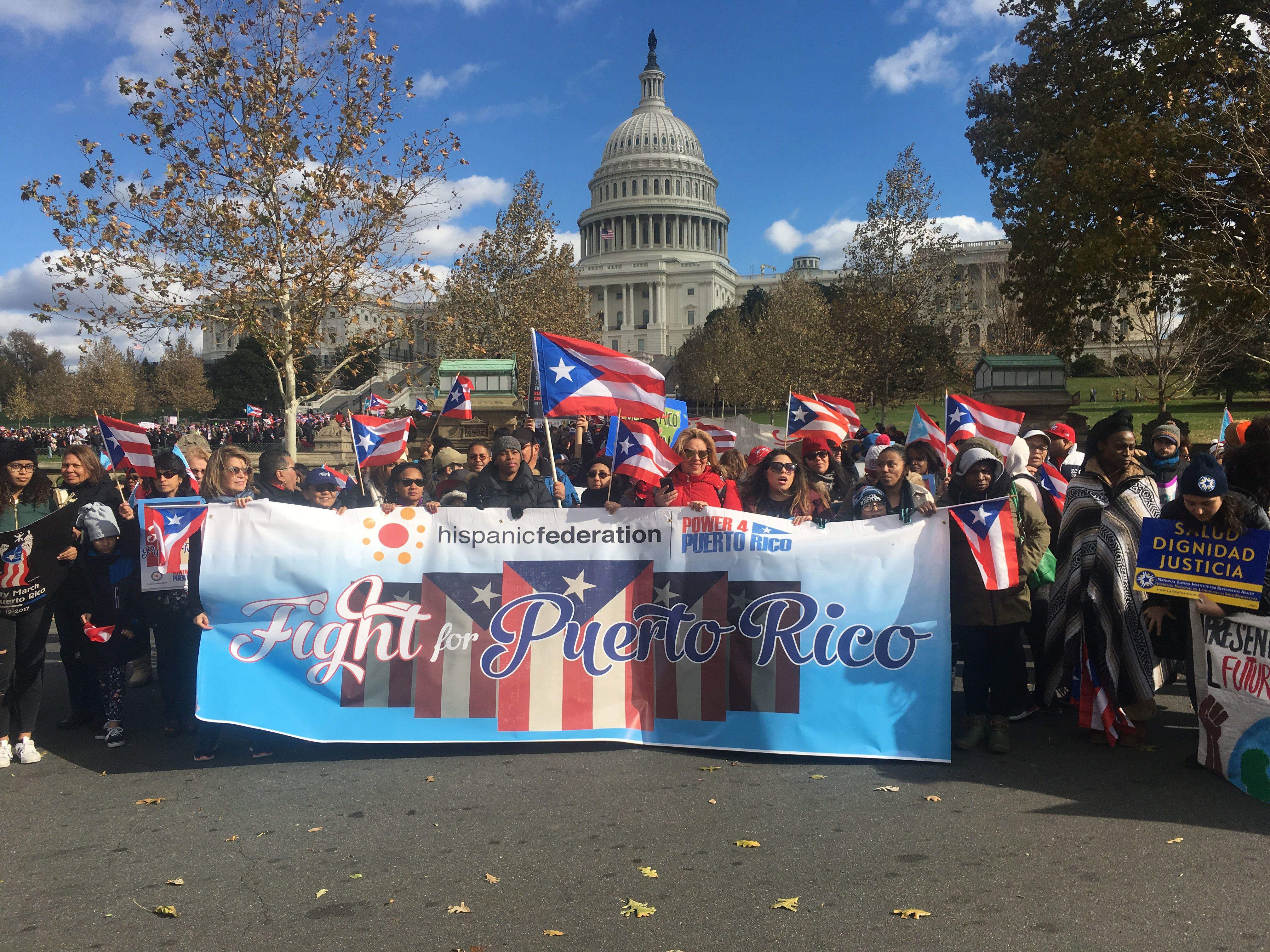 People carry signs during a protest for Puerto Rico on November 19, 2017 in Washington,DC. Puerto Ricans protested in Washington on Sunday in solidarity with their hurricane-hit island, criticizing the US response to the storm and calling for changes to be made. Hurricane Maria slammed into Puerto Rico in September, ravaging its infrastructure. Some 50 percent of its population of 3.4 million people is still without electricity more than two months later.Demonstrators gathered at the US Capitol building, with Puerto Rican flags and signs that read 'Fight for Puerto Rico,' then marched toward the Lincoln Memorial at the other end of the National Mall.  / AFP PHOTO / W.G. Dunlop        (Photo credit should read W.G. DUNLOP/AFP/Getty Images)