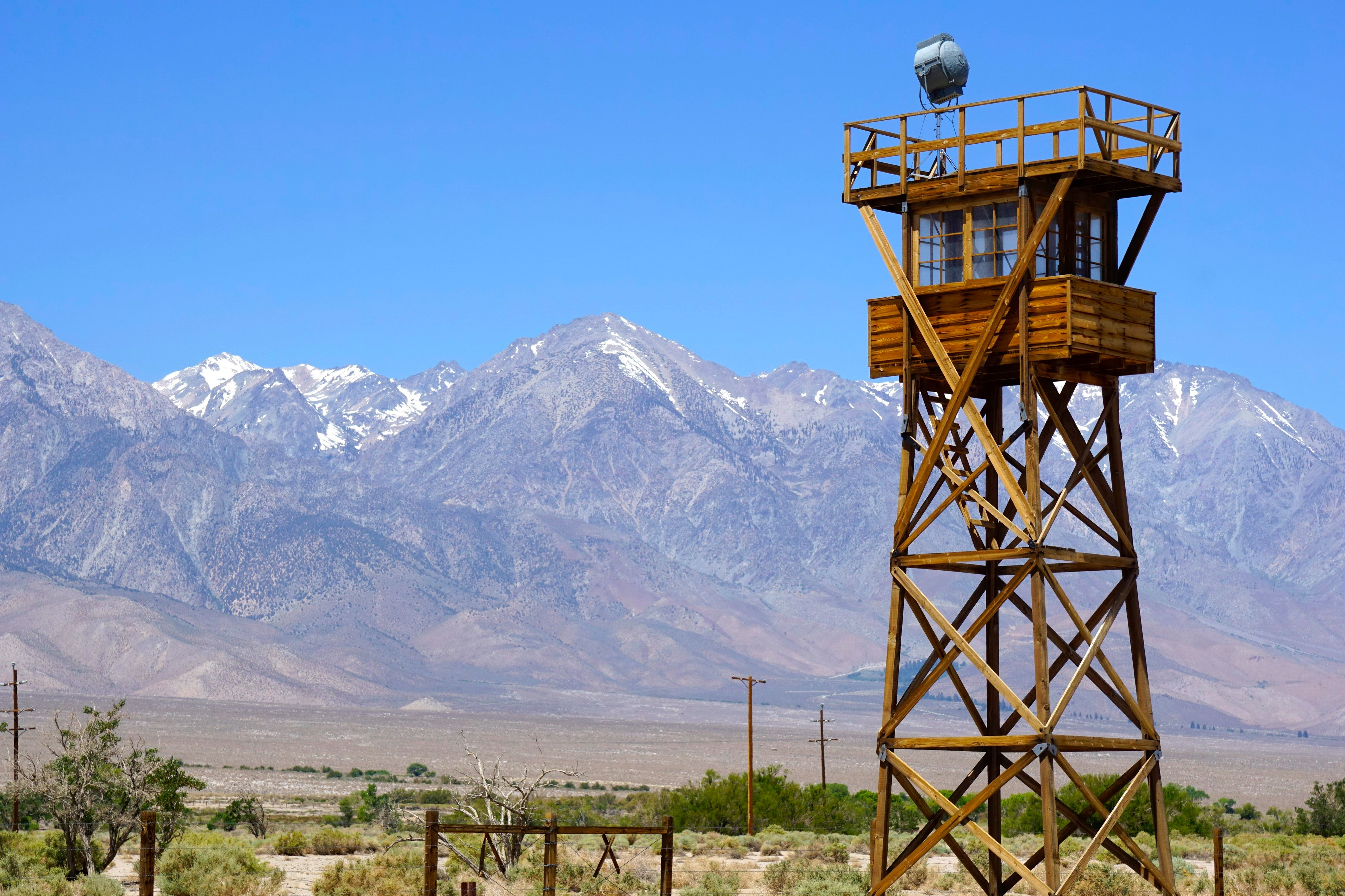 Guard tower at the Manzanar National Historic Site in California. Manzanar was a relocation center where the US government under  President Franklin D Roosevelt ordered the incarceration of over 110,000 Japanese-Americans during World War II.