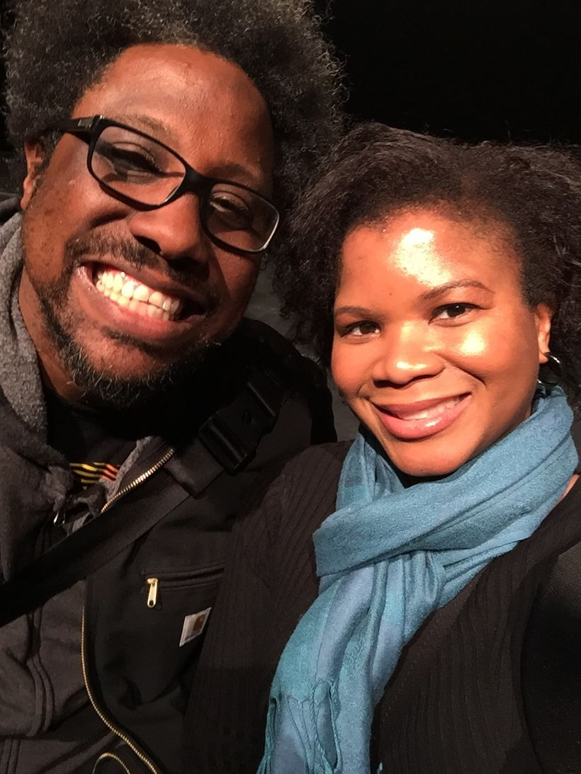 """Alonda Thomas with W. Kamau Bell, host of """"United Shades of America"""" on press tour in Chicago"""