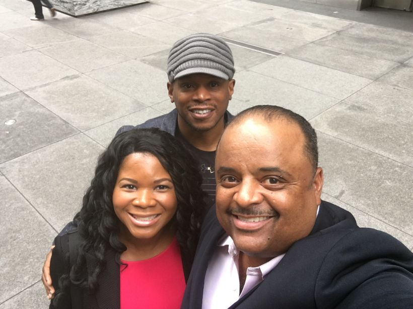 Roland Martin Approved Selfie: Alonda Thomas with Sway Calloway and Roland Martin after an engaging interview with the journa