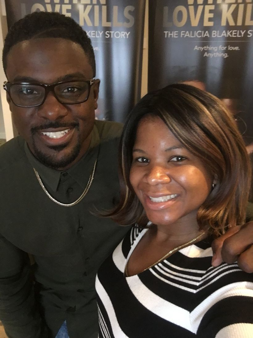 """Alonda Thomas with Lance Gross of """"When Love Kills: The Falicia Blakely Story"""" during a press event at the National Associati"""