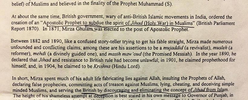 Anti-Ahmadi hate leaflets distributed at the event glorified the 'Jihadist' vision and vilified the founder of the Ahmadiyya