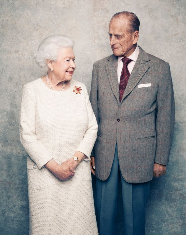 The Queen and Prince Philip pose for their 70th wedding