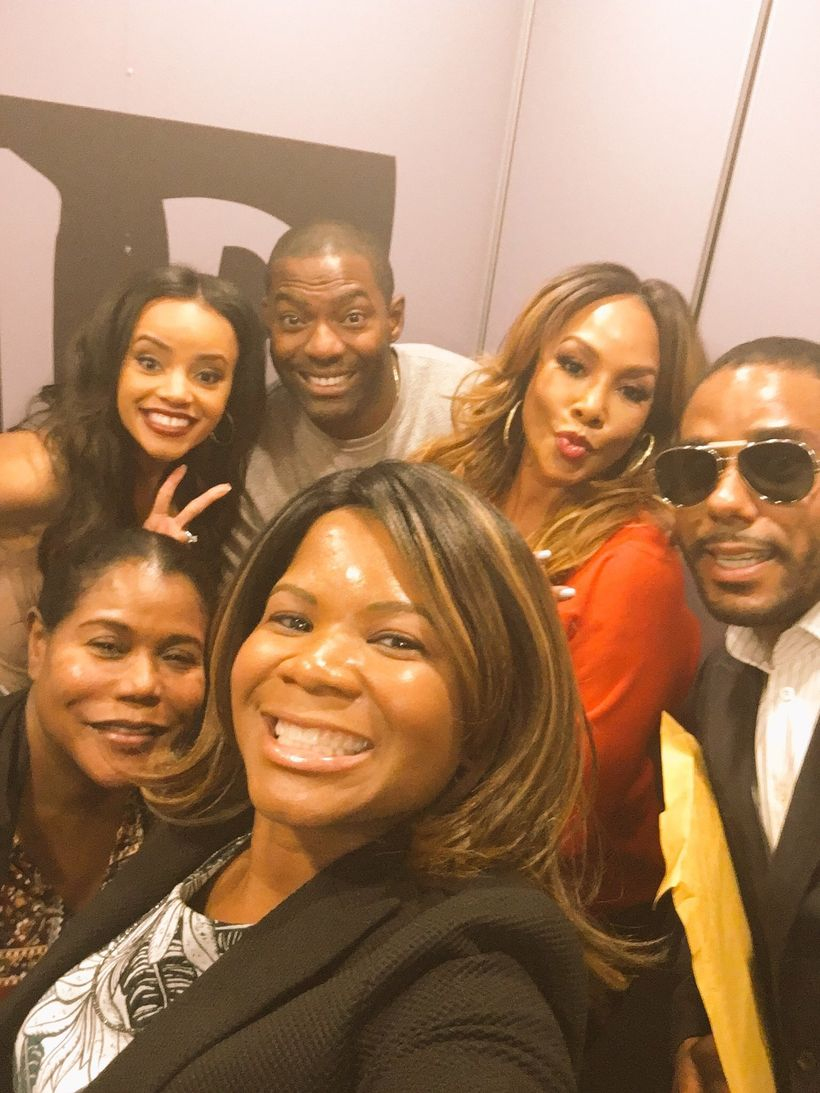 """Say Cheese: Alonda Thomas and the cast of Bobbi Kristina"""" on the way to the Build Series interview in New York (Clockwise fro"""