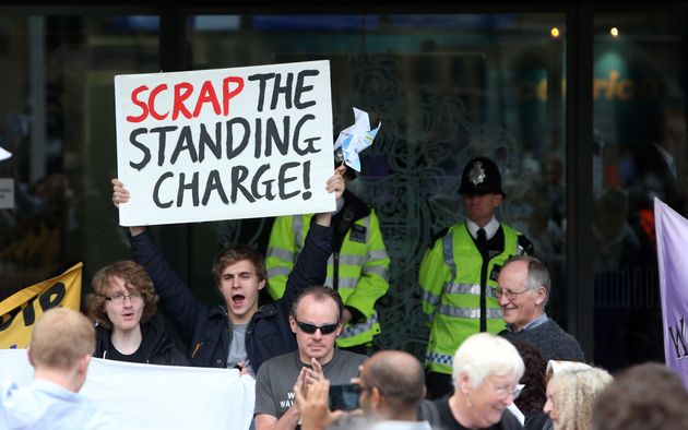 Protesters hold a demonstration outside a Centrica AGM in central