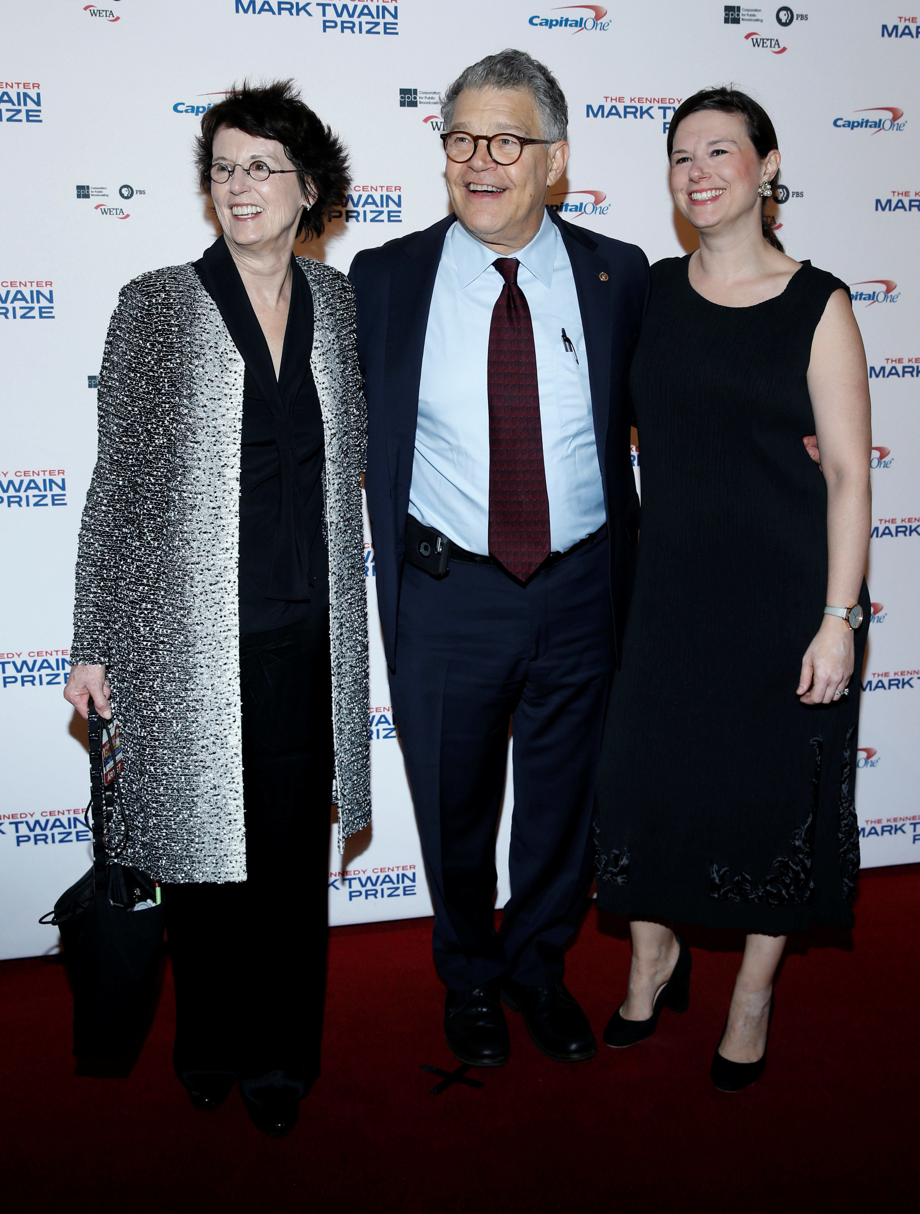 Sen. Al Franken,seen with his wife and daughter, appears at the gala honoring David Letterman in Washington last month.